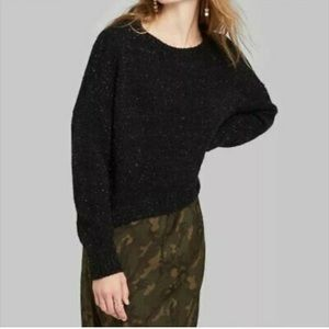 Wild fable sweater black knit cropped sweater